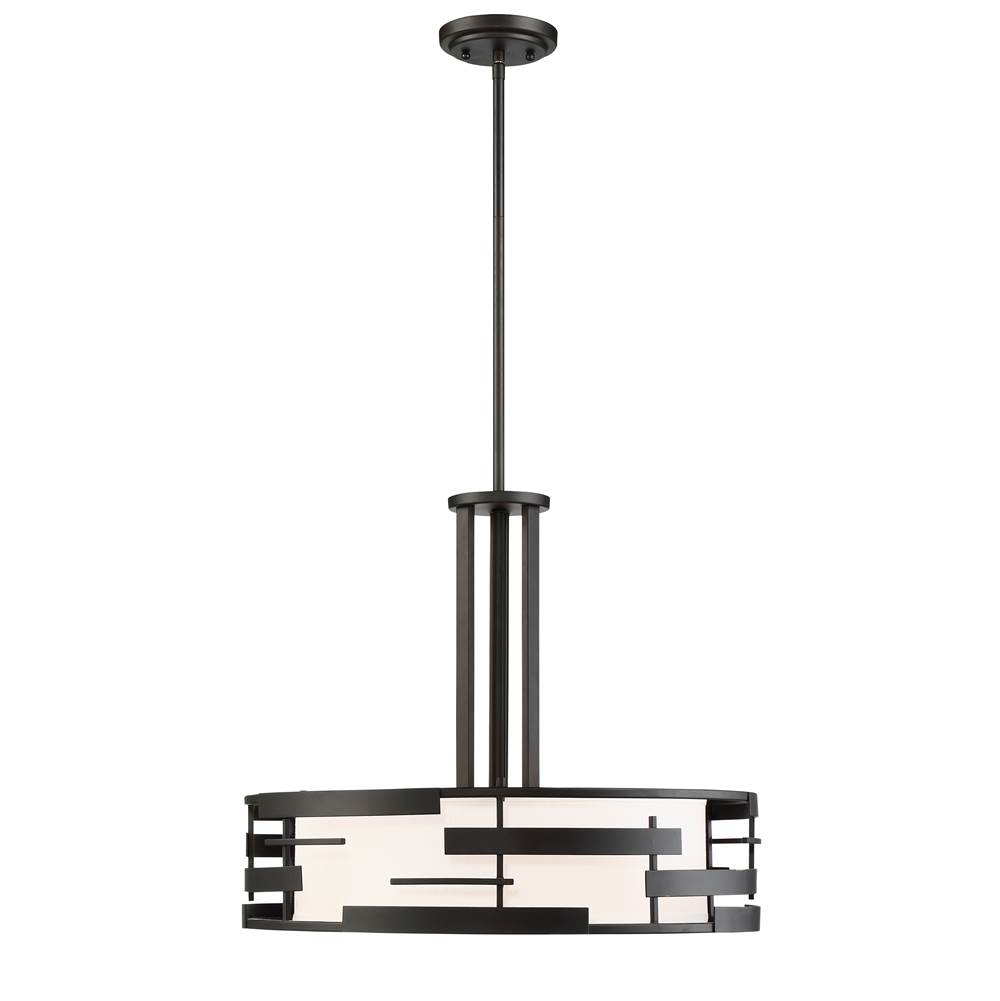 Nuvo Lansing; 3 Light; Pendant with White Fabric Shade and Opal Diffuser