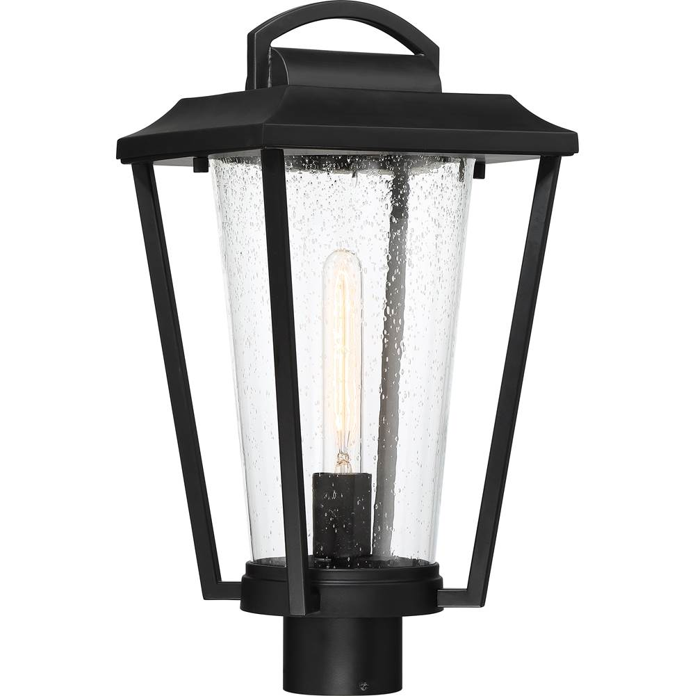 Nuvo Lakeview; 1 Light; Post Lantern; Aged Bronze Finish with Clear Seed Glass