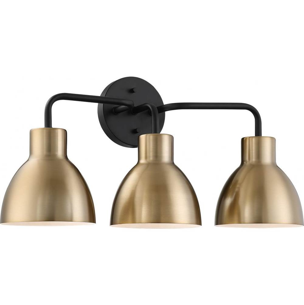 Nuvo Sloan; 3 Light; Vanity; Matte Black and Burnished Brass Finish