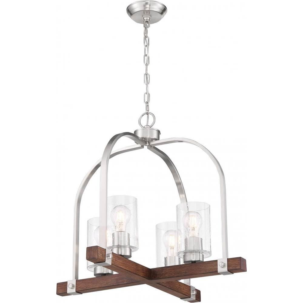 Nuvo Arabel; 4 Light; Chandelier; Brushed Nickel and Nutmeg Wood Finish with Clear Seeded Glass