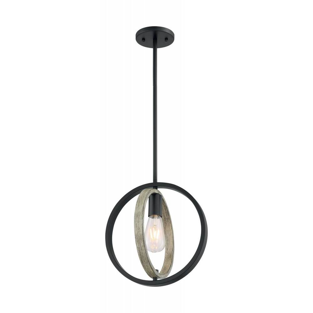 Nuvo Augusta; 1 Light; Mini Pendant Fixture; Black with Gray Wood Finish