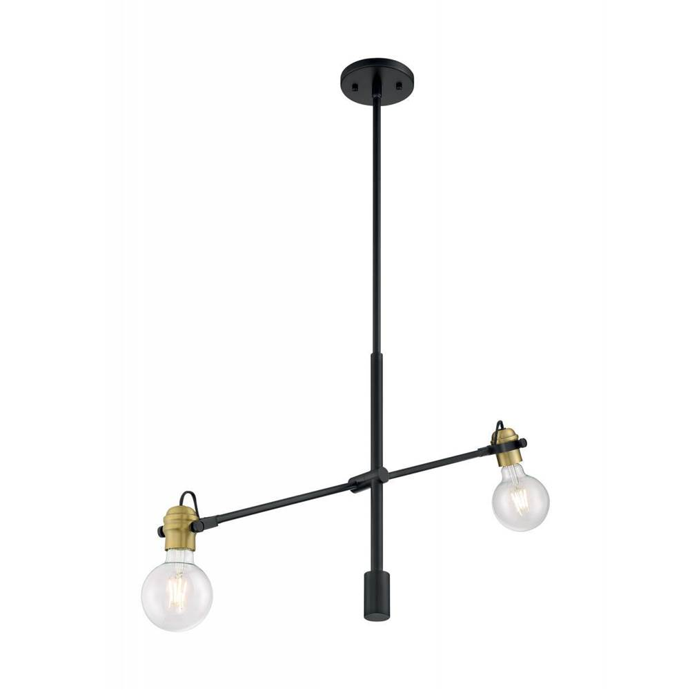 Nuvo Mantra; 2 Light; Pendant Fixture; Black Finish with Brushed Brass Sockets