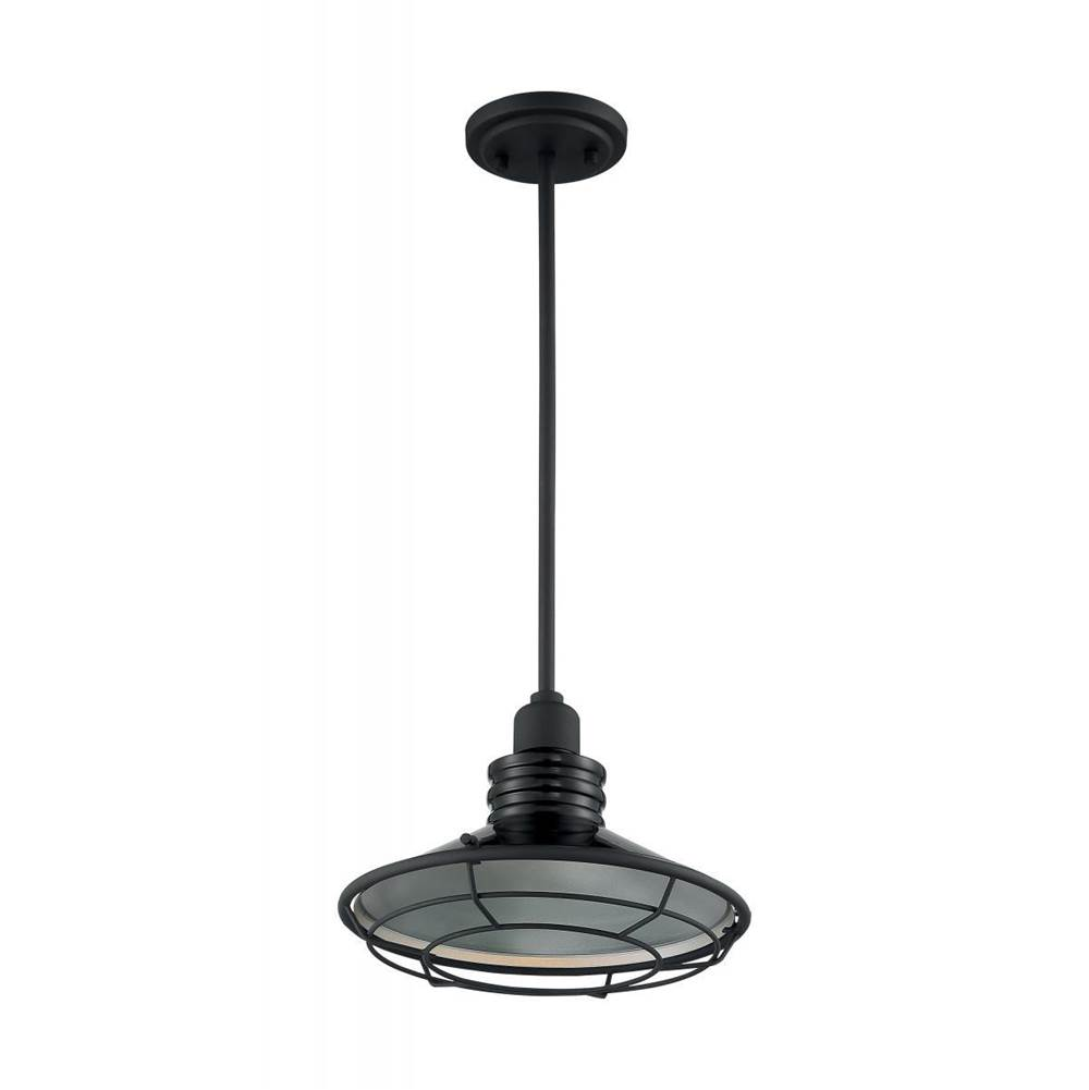 Nuvo Blue Harbor; 1 Light; Large Pendant Fixture; Gloss Black Finish with Silver and Textured Black Accents