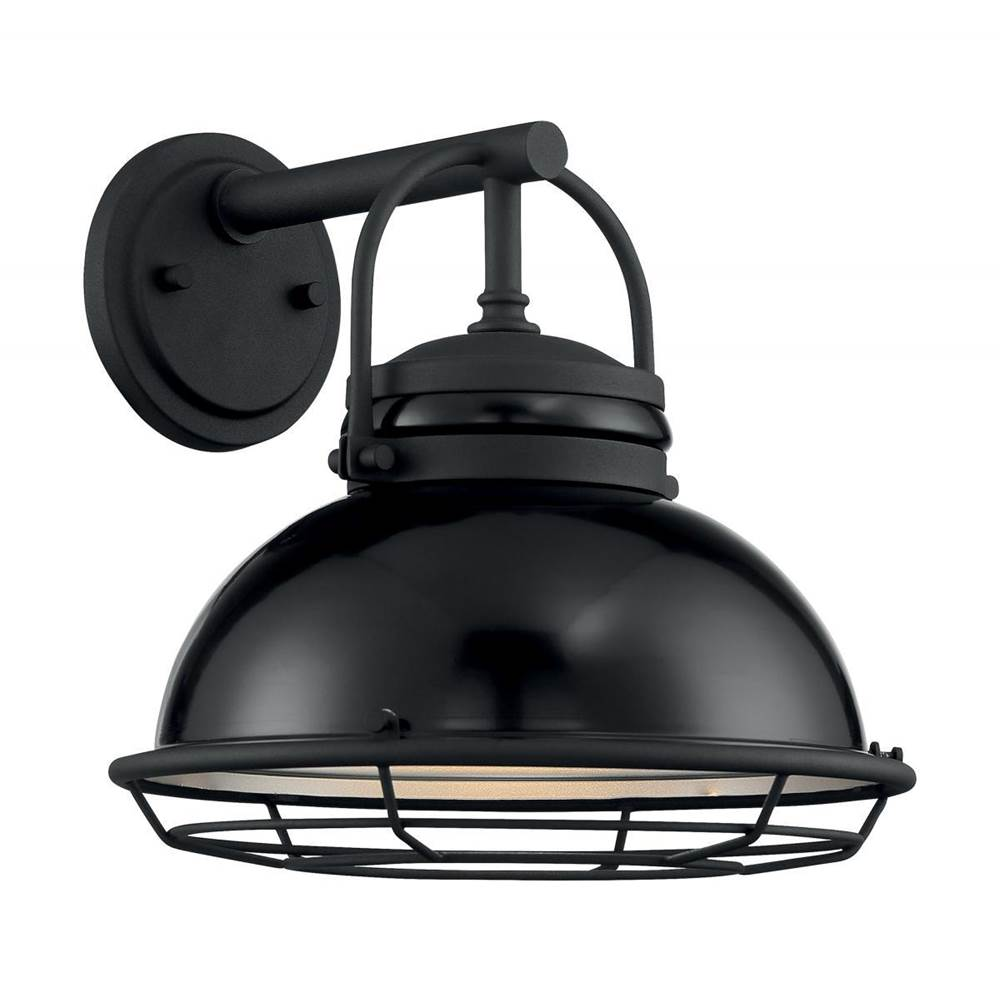 Nuvo Upton; 1 Light; Large Outdoor Wall Sconce Fixture; Gloss Black Finish with Silver and Textured Black Accents