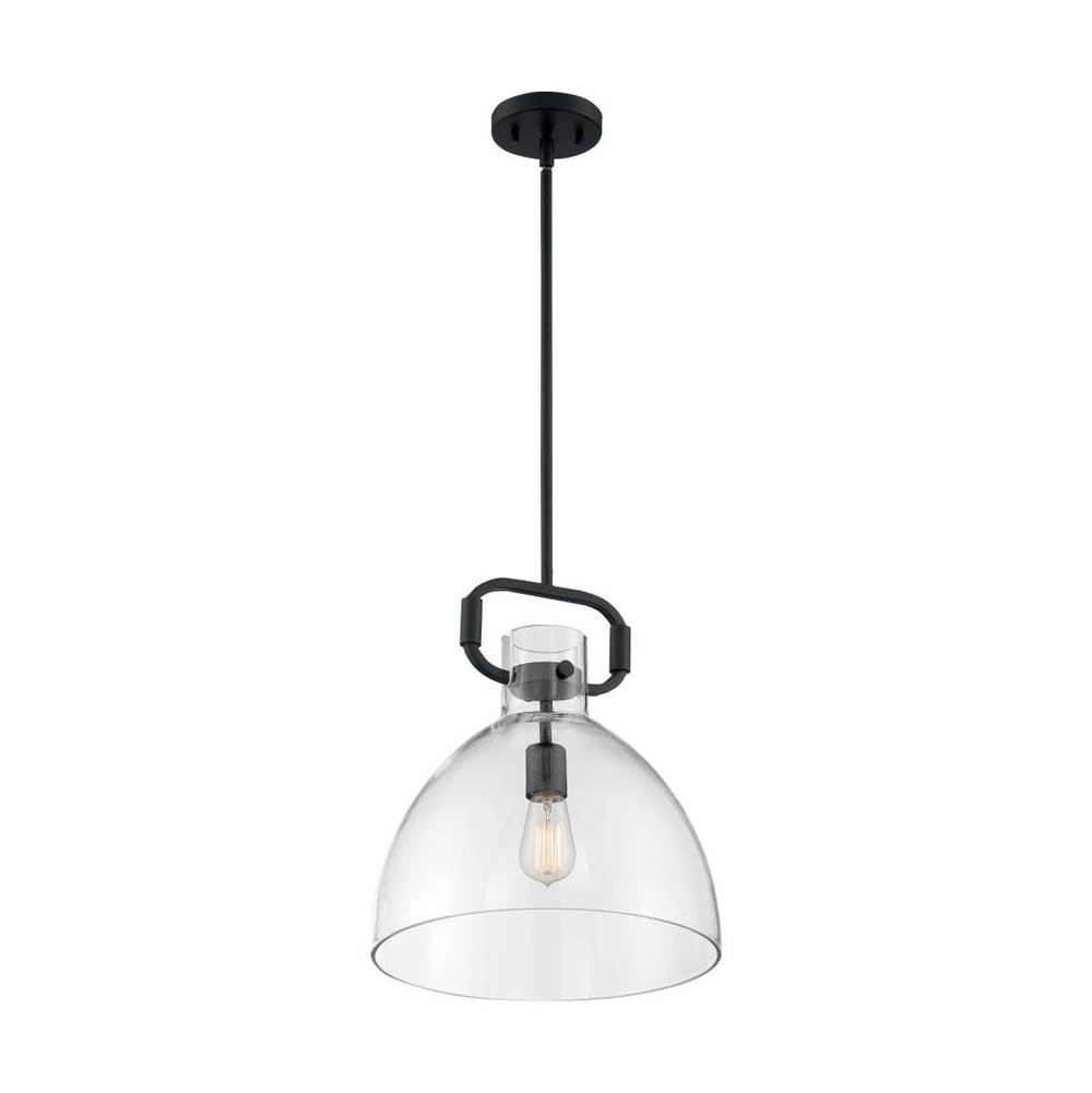 Nuvo Teresa; 1 Light; Bell Pendant Fixture; Matte Black Finish with Clear Glass
