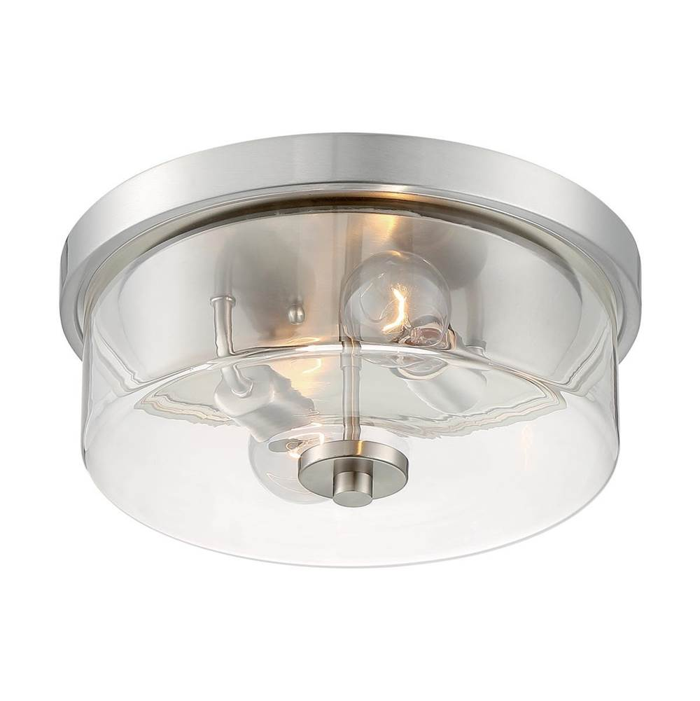 Nuvo Sommerset; 2 Light; Flush Mount Fixture; Brushed Nickel Finish with Clear Glass