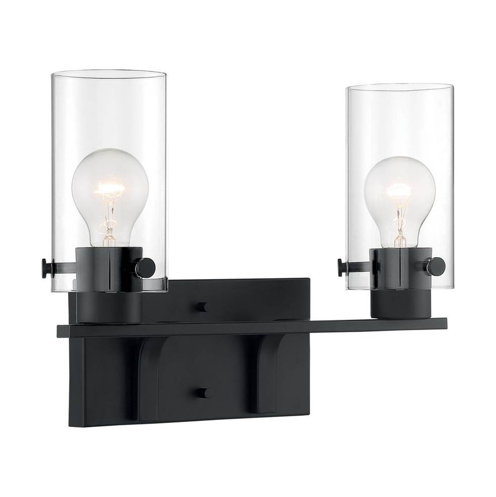 Nuvo Sommerset; 2 Light; Vanity Fixture; Matte Black Finish with Clear Glass
