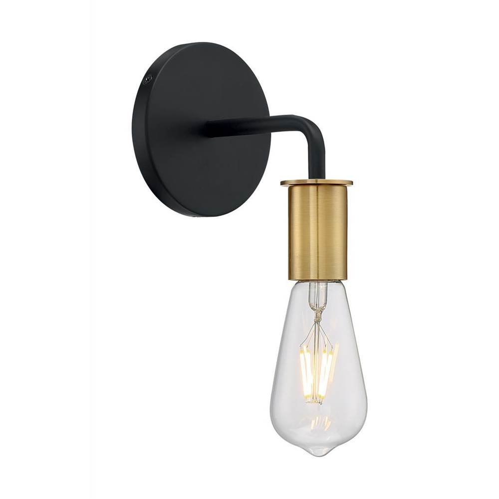 Nuvo Ryder; 1 Light; Wall Sconce Fixture; Black Finish with Brushed Brass Sockets