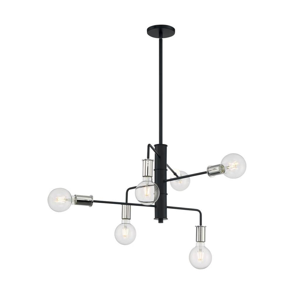 Nuvo Ryder; 6 Light; Chandelier Fixture; Black Finish with Polished Nickel Sockets