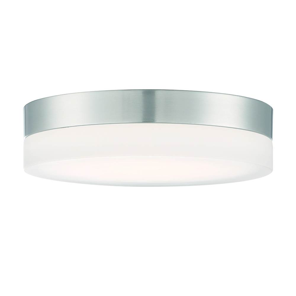Nuvo Pi; 14 in.; Flush Mount LED Fixture; Brushed Nickel Finish with Etched Glass