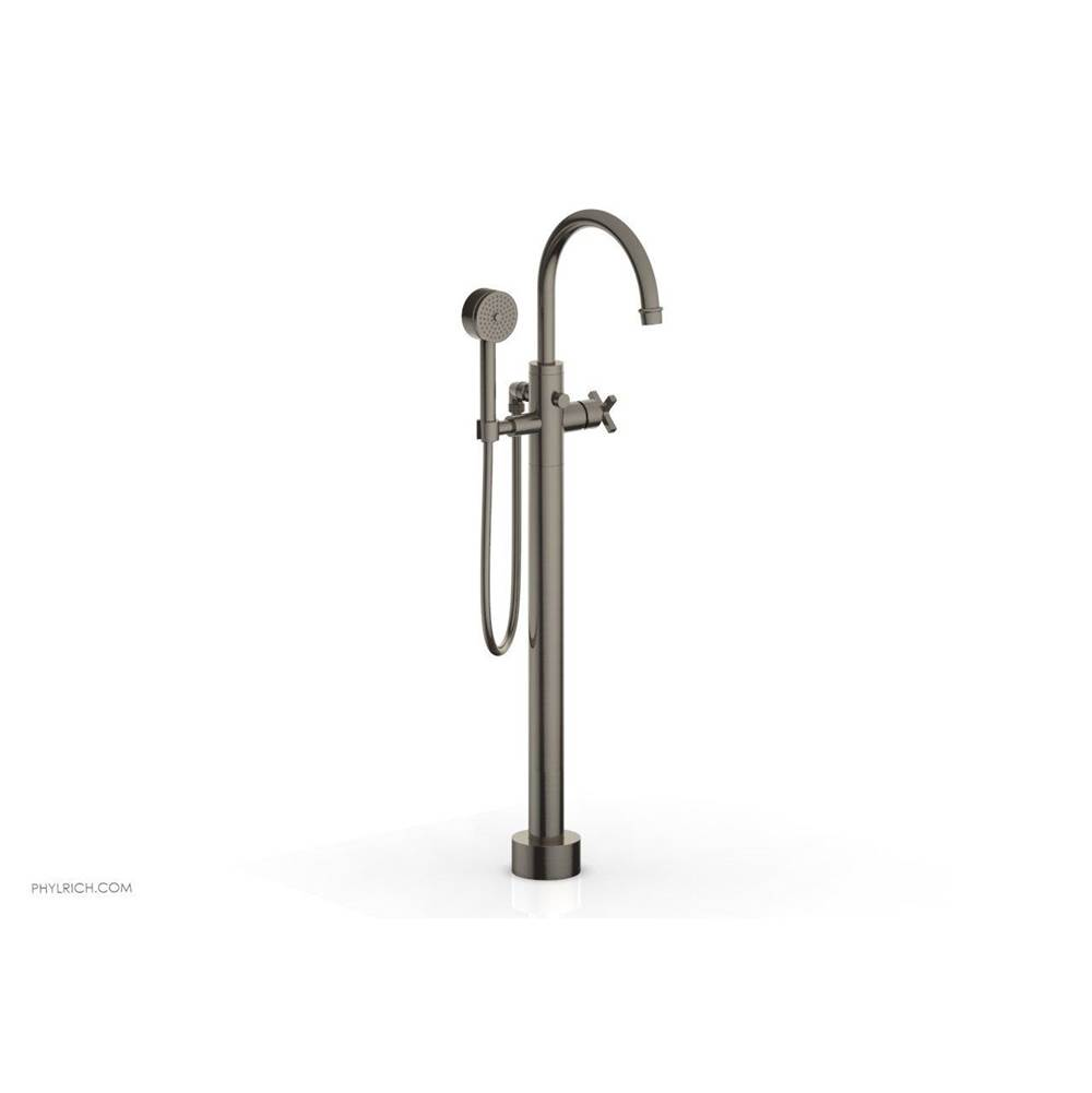 Phylrich HEX MODERN Floor Mount Tub Filler Cross Handles with Hand Shower
