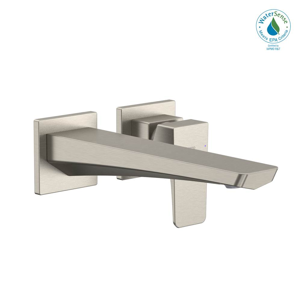 Toto GE 1.2 GPM Wall-Mount Single-Handle Long Bathroom Faucet with COMFORT GLIDE Technology, Brushed Nickel