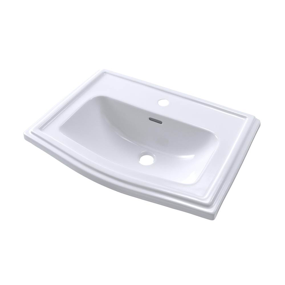 Toto Clayton® Rectangular Self-Rimming Drop-In Bathroom Sink for Single Hole Faucets, Cotton White