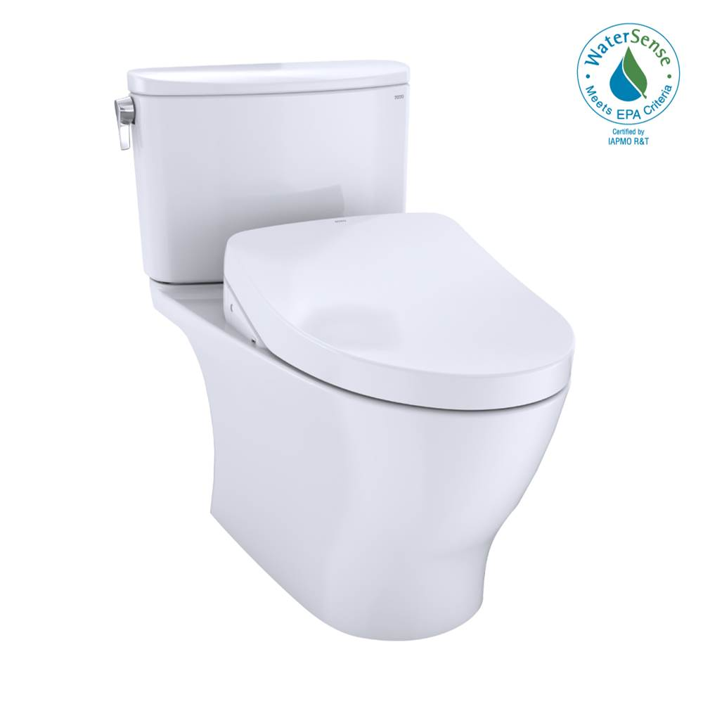 Toto WASHLET®+ Nexus® Two-Piece Elongated 1.28 GPF Toilet with Auto Flush S550e Contemporary Bidet Seat, Cotton White