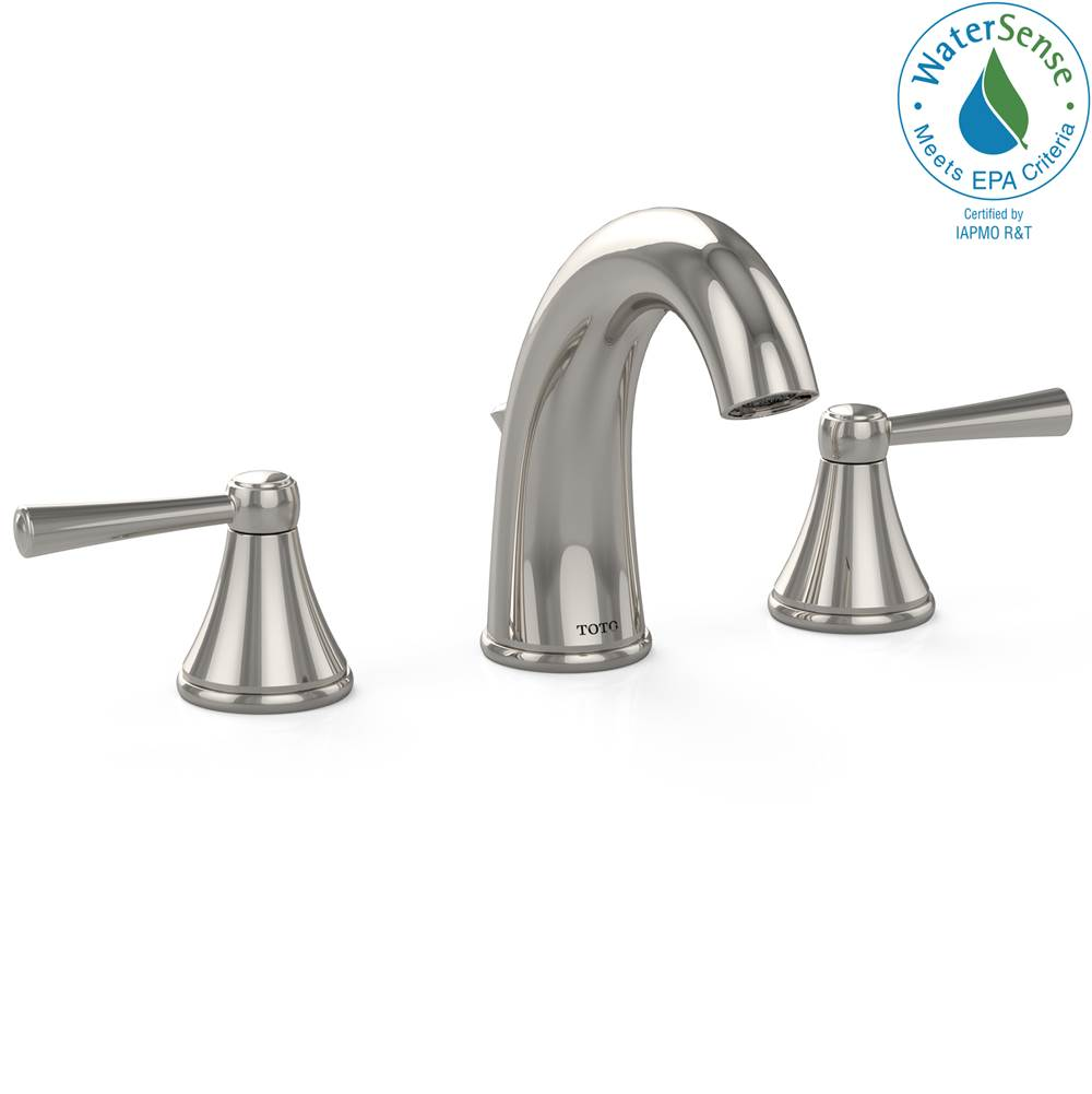 Toto Silas™ Two Handle Widespread 1.2 GPM Bathroom Sink Faucet, Polished Nickel