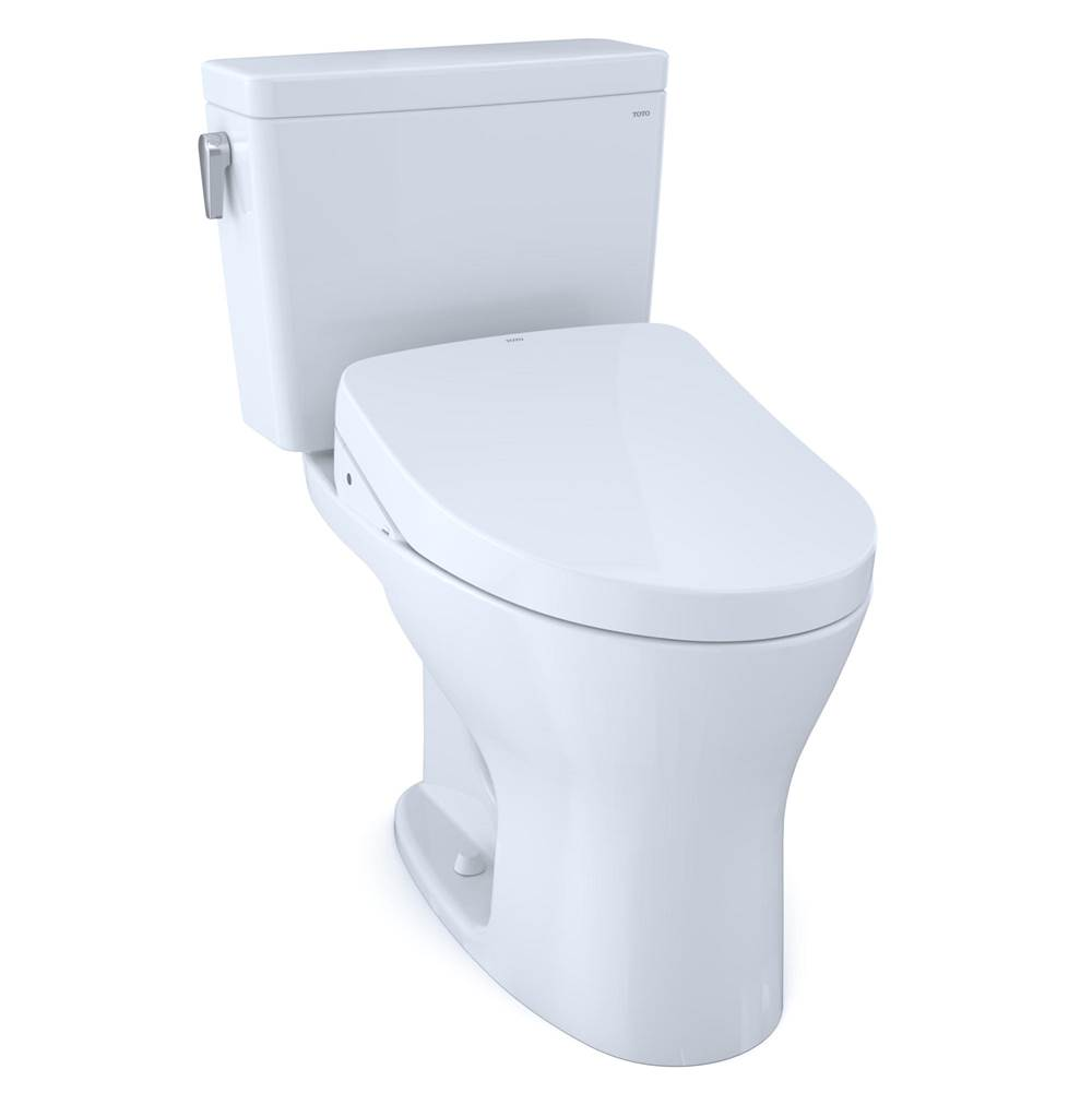 Toto Drake® WASHLET®+ Two-Piece EL Dual Flush 1.6, 0.8 GPF Unv. Height DYNAMAX TORNADO FLUSH® Toilet with Auto Flush S500e Bidet Seat, Cotton W