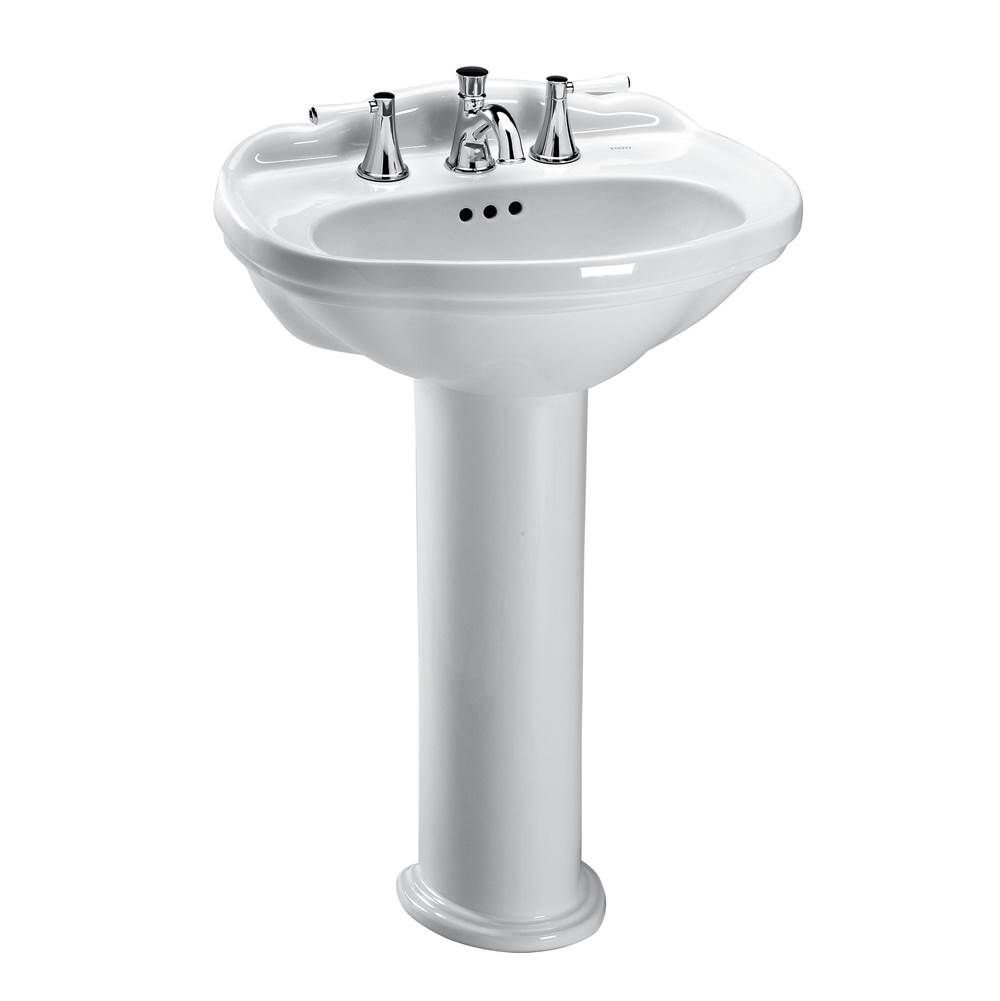 Toto Whitney® Oval Pedestal Bathroom Sink for 4 Inch Center Faucets, Cotton White