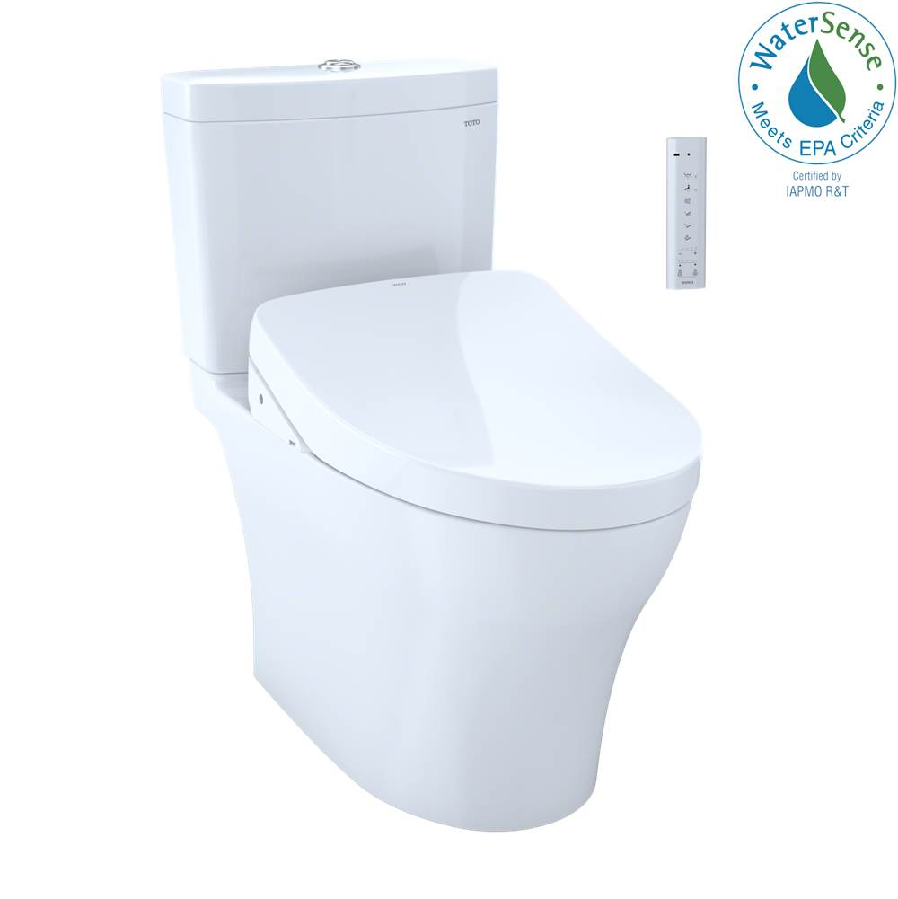Toto WASHLET®+ Aquia® IV 1G® Two-Piece Elongated Dual Flush 1.0 and 0.8 GPF Toilet with Auto Flush S550e Bidet Seat, Cotton White