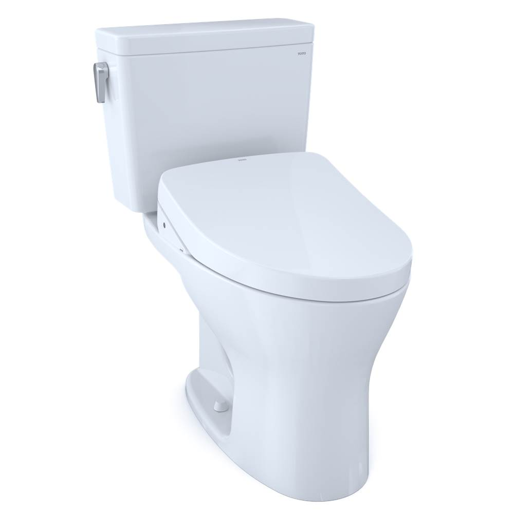 Toto Drake® WASHLET®+ Two-Piece Elongated Dual Flush 1.6,0.8 GPF Universal Height DYNAMAX TORNADO FLUSH® Toilet with S500e Bidet Seat, Cotton Wh