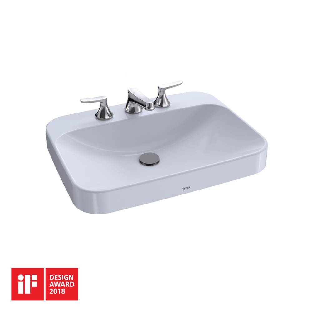 Toto Arvina™ Rectangular 23'' Vessel Bathroom Sink with CEFIONTECT for 8 Inch Center Faucets, Cotton White