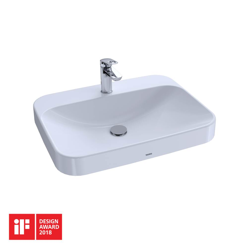 Toto Arvina™ Rectangular 23'' Vessel Bathroom Sink with CEFIONTECT for Single Hole Faucets, Cotton White