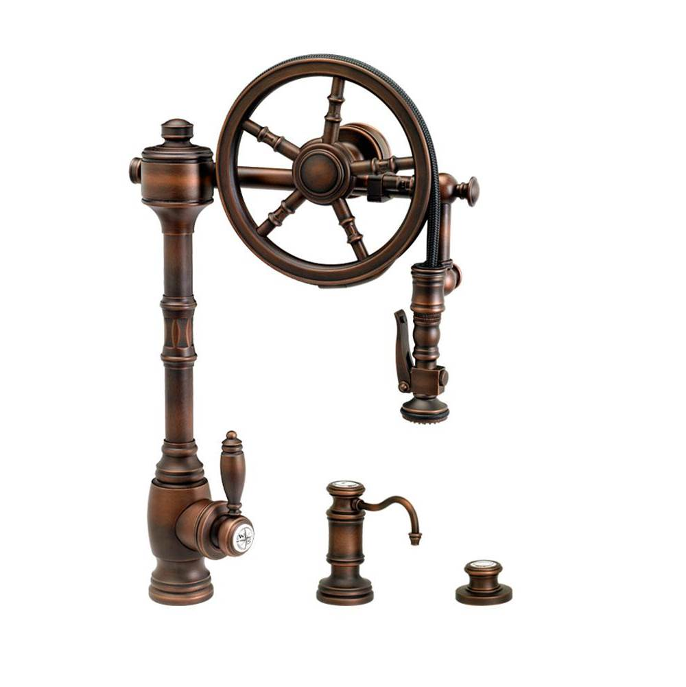 Waterstone Traditional Wheel Pulldown Faucet - 3Pc. Suite