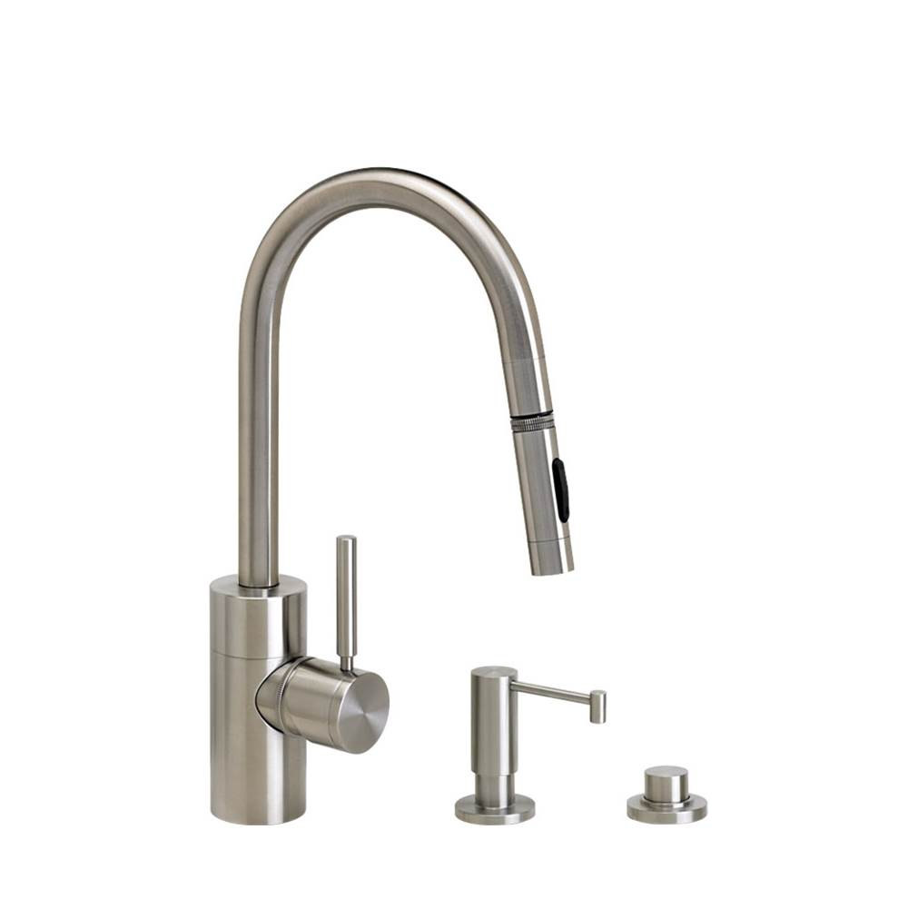 Waterstone Contemporary Prep Size Plp Pulldown Faucet - Angled Spout - Lever Sprayer - 3Pc. Suite