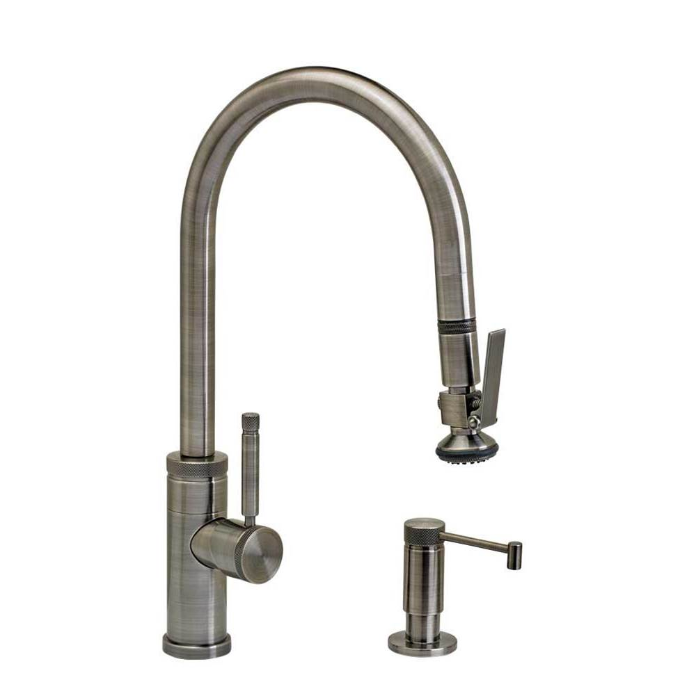 Waterstone Industrial Plp Pulldown Faucet - Angled Spout - Lever Sprayer - 2Pc. Suite