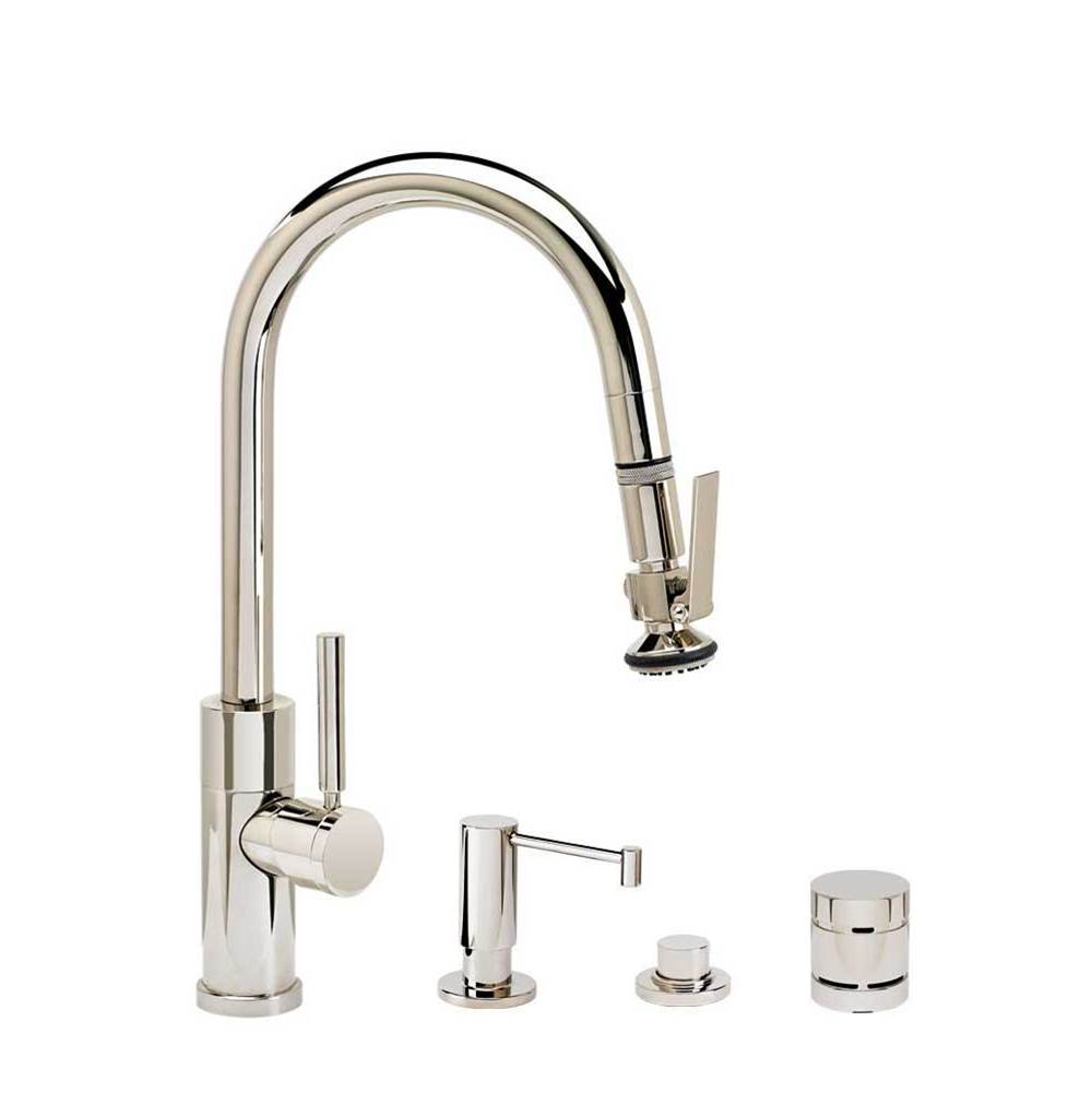 Waterstone Modern Prep Size Plp Pulldown Faucet - Angled Spout - Lever Sprayer - 4Pc. Suite